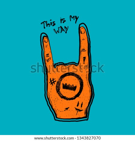 t shirt design with rock hand