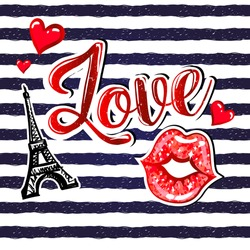 t shirt design with seamless stripes pattern, comics patch badges Eiffel Tower, calligraphic word Love, kiss lips with glitter, hearts. Creative original design for girls, fashion clothes