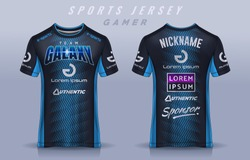 t-shirt e-sport design template, Soccer jersey mockup for football club. uniform front and back view.