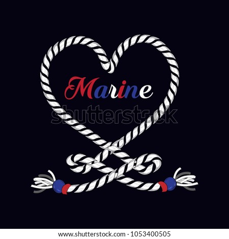 T-shirt graphic print nautical marine anchor in heart from rope theme the ocean spirit serigraphy stencil cool vector design classic vintage template on navy