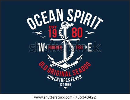 T-shirt graphic print nautical marine theme the ocean spirit serigraphy stencil cool vector design classic vintage template