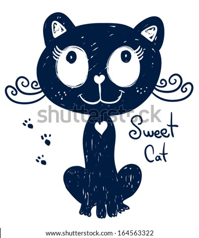 T-shirt graphics/cute cat illustration/vector cat/cat poster/cat graphics for textiles/princess cat design/adorable cute cat/tabby cat/canvas print/Tattoo design/cat poster/blue cat drawing