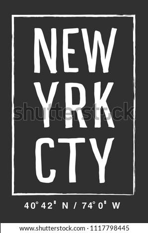 t shirt graphics, tee print design.  New york city slogan/ Vector art template
