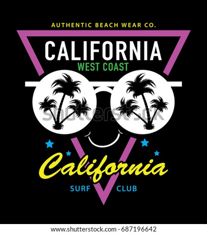 ddd7236eab47 T shirt graphics   Vector print design   California typography and  sunglasses with palm trees