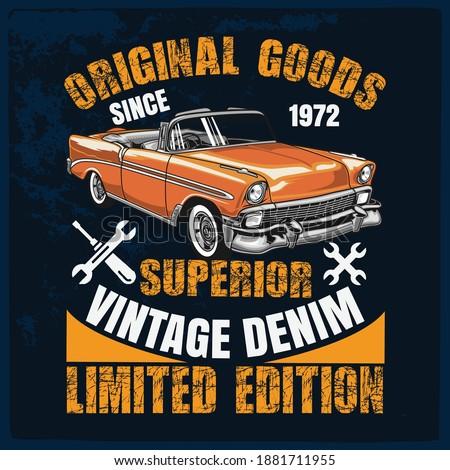 T-shirt graphics. Vector vintage sport racing T-shirt  design Vintage typography, sport racing car ,old school race poster. retro race car set.  T-shirt printing designs.