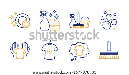 T-shirt, Household service and Hold t-shirt line icons set. Cleanser spray, Clean bubbles and Clean dishes signs. Cleaning mop symbol. Laundry shirt, Cleaning equipment. Cleaning set. Vector