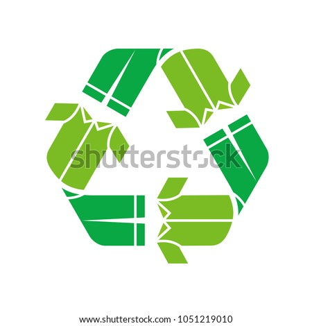 T-Shirt icon and recycle symbol. Vector logo eps 08.