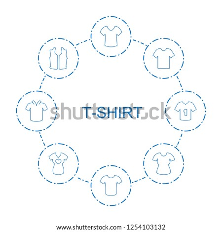 t-shirt icons. Trendy 8 t-shirt icons. Contain icons such as shirt, T-shirt, sleeveless shirt, t shirt with heart, t shirt. t-shirt icon for web and mobile.