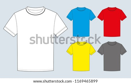 T shirt is white, gray, red, yellow, blue. Vector illustration
