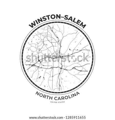 T-shirt map badge of Winston–Salem, North Carolina. Tee shirt print typography label badge emblem. Vector illustration Stock fotó ©