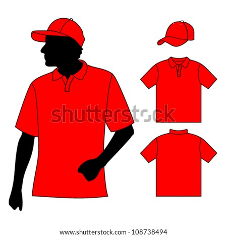 T-shirt. Men's polo shirt template with human body silhouette and baseball cap