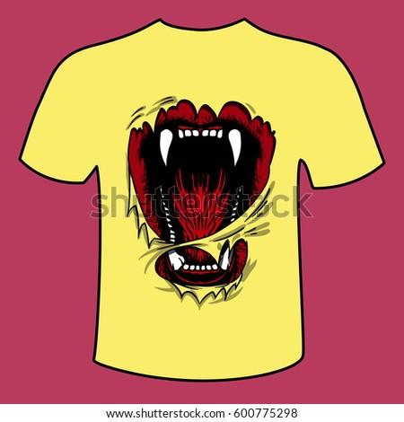 t shirt mockup jaws bear