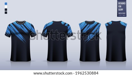 T-shirt mockup or sport shirt template design for soccer jersey or football kit. Tank top for basketball jersey or running singlet. Fabric pattern for sport uniform in front view back view. Vector. Stock photo ©
