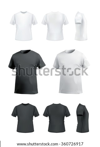 Shutterstock T-shirt mockup set on white background, front, side, back and perspective view. Vector eps10 illustration