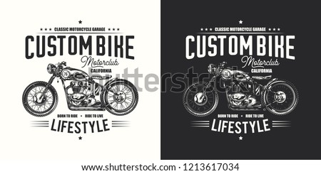 T-shirt or poster design with an illustration of an old motorcycle. Design with text composition on light and dark background.