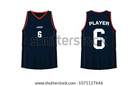 5b50238b777a T-shirt orange and black basketball or football template for team club on  white background