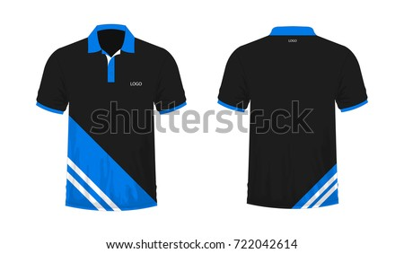 T-shirt polo blue and black on white background. Vector illustration.