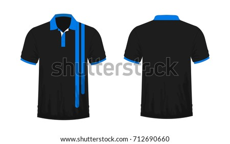 T-shirt Polo blue and black Template for design on white background. Vector illustration eps 10.