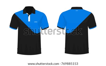 T Shirt Polo Blue And Black Template For Design On White Background