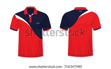 dfc6b4de5 T-shirt Polo res and black template for design on white background. Vector  illustration