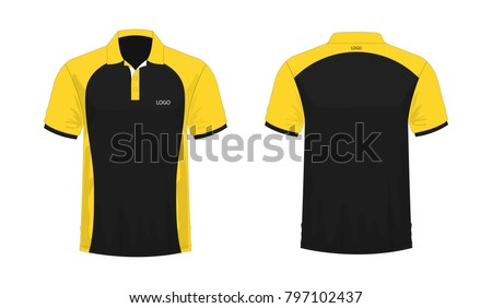 2e47b18ba T-shirt Polo yellow and black template for design on white background.  Vector illustration