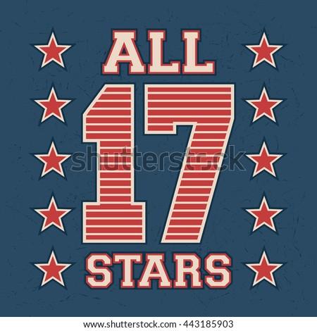 t shirt print design. all stars ...