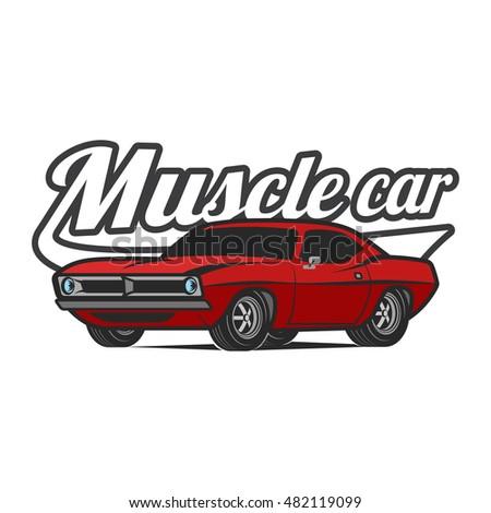 t shirt print muscle car vector