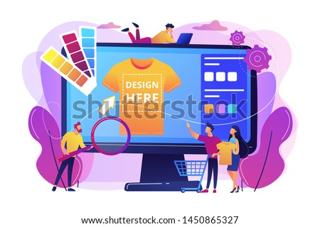 T-shirt print on demand services. Promotional apparel design. Merch clothing, custom merchandise products, merch design service concept. Bright vibrant violet vector isolated illustration