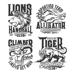 T-shirt prints with mountain goat, alligator, lion and tiger vector mascots. Heads of grin and roar wild animals for fighting and sport club symbols. Apparel rock climber and handball team design
