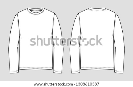 T-shirt round neck. Long sleeve. Mockup template.