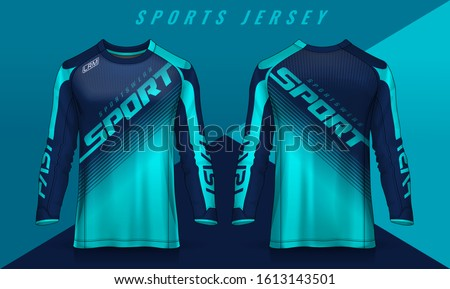 t-shirt sport design template, Long sleeve soccer jersey mockup for football club. uniform front and back view,Motocross jersey. Stock photo ©