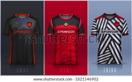 t-shirt sport design template, Soccer jersey mockup for football club.  Stock photo ©