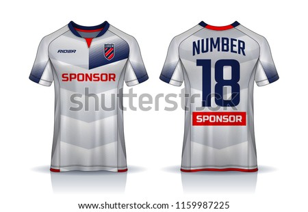 t-shirt sport design template, Soccer jersey mockup for football club. uniform front and back view. #1159987225