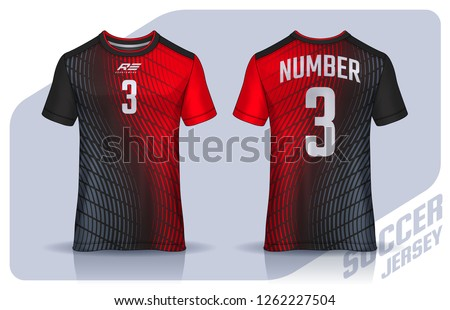 t-shirt sport design template, Soccer jersey mockup for football club. uniform front and back view. ストックフォト ©