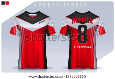 t-shirt sport design template, Soccer jersey mockup for football club. uniform front and back view. #1295208850