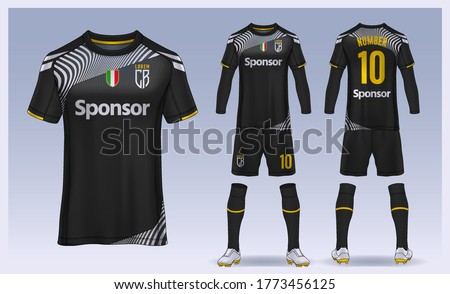 t-shirt sport design template, Soccer jersey mockup for football club. uniform front and back view. Stockfoto ©