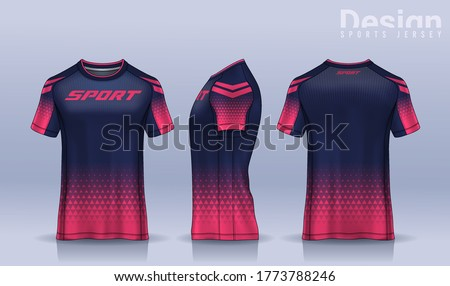 t-shirt sport design template, Soccer jersey mockup for football club. uniform front and back view. Stock photo ©