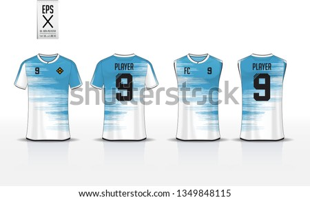 T-shirt sport template design for soccer jersey, football kit and tank top for basketball jersey. Sport uniform in front and back view. Sport shirt mock up for sport club. Vector Illustration.