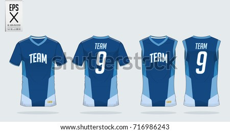 T-shirt, tank top sport design template for soccer jersey, football kit or basketball jersey. T-shirt uniform in front view and back view. Sportswear shirt mock up for sport club. Vector Illustration.