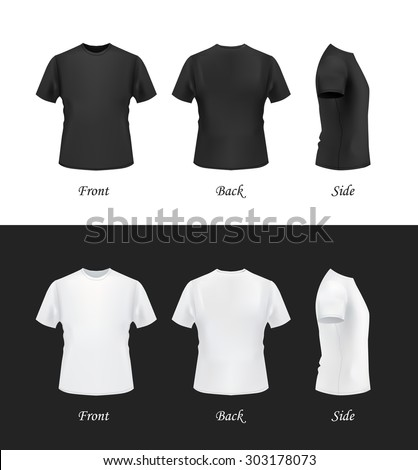 T shirt template front side back view black and white for White t shirt template front and back