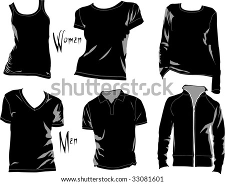 T-shirt template/mockup for designs in vector format. Colors are easily modified, shadows can be hidden, each t-shirt on a separate layer with a sublayer where you may place your own design. - stock vector