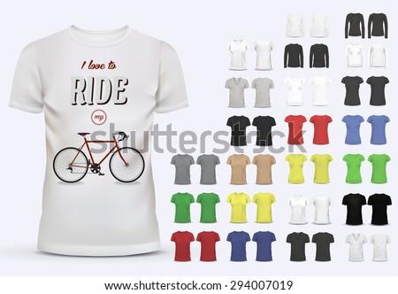 T-shirt template set for men and women, realistic gradient mesh vetor eps10 illustration.