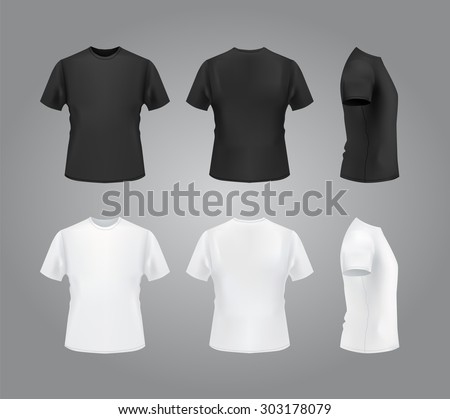 T-shirt template set, front, side, back view mockup. Vector eps 10 illustration.