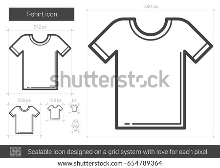 T-shirt vector line icon isolated on white background. T-shirt line icon for infographic, website or app. Scalable icon designed on a grid system.