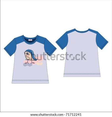 T-shirt with a blue bird print