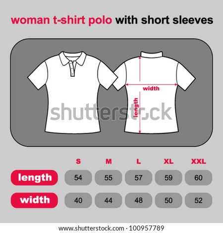 T-shirt woman polo back and front. Table sizes shirt. Vector illustration.