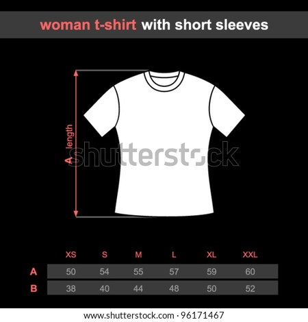 T-shirt woman with short sleeves. Table sizes shirt. Vector illustration.