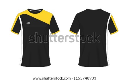 61eeeec45f T-shirt yellow and black soccer or football template for team club on white  background