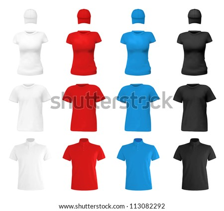 Colored Blank T-shirt Template On Blue Vector - Download Free Vector ...