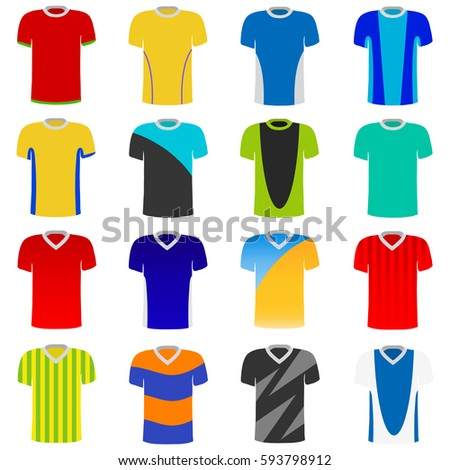 T-Shirts, Set of t-shirts, clothes, sportswear. Flat design, vector illustration.